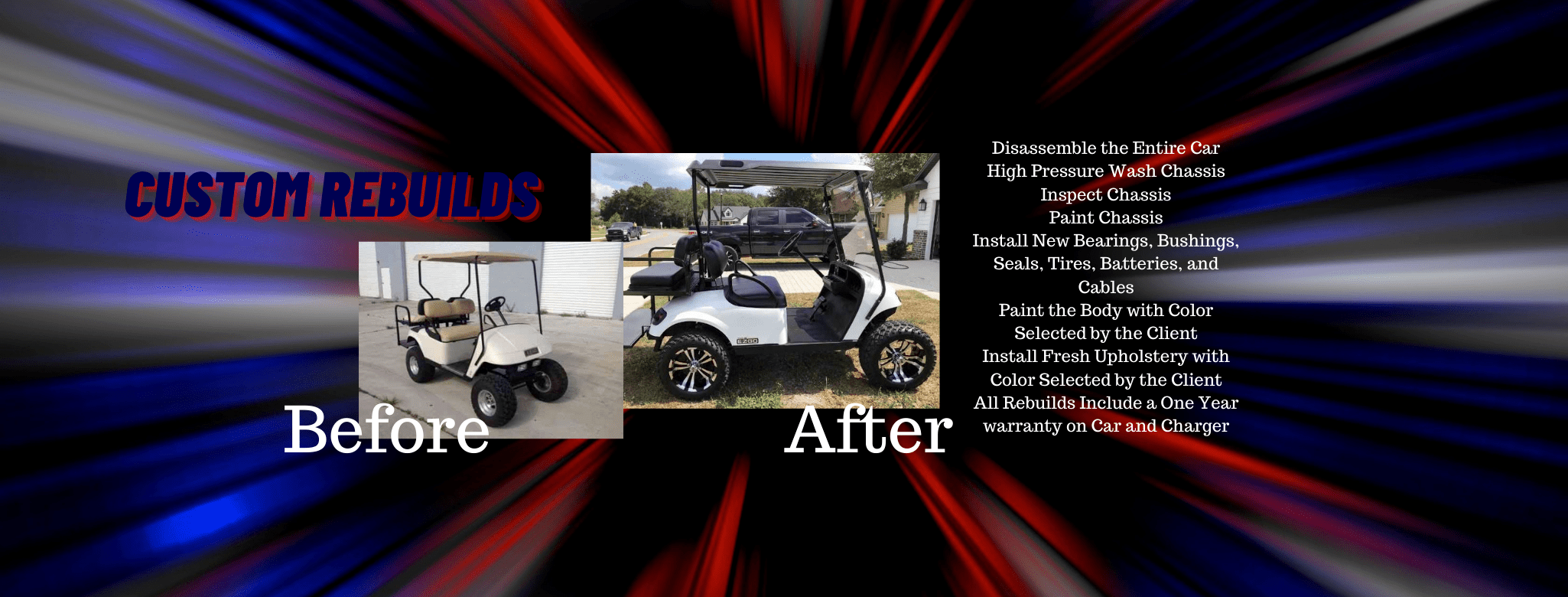 Custom rebuild golf carts